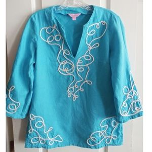 Lilly Pulitzer Embroidered Linen Tunic!